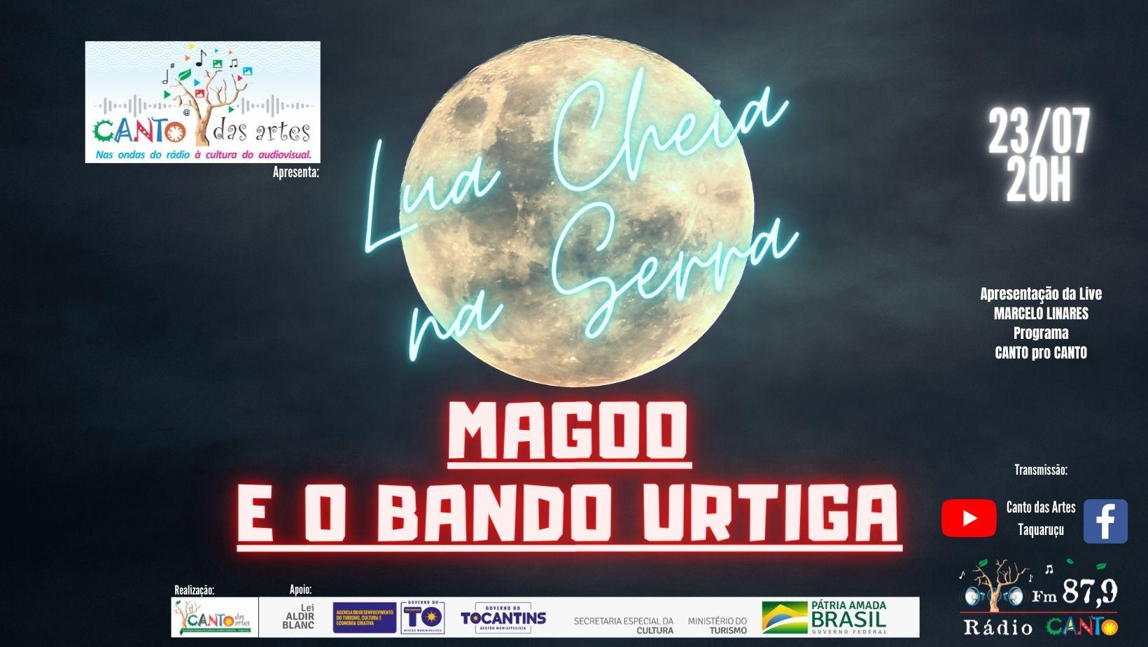 """""""Lua Cheia na Serra"""" no Canto das Artes retorna nesta sexta-feira 23, com participação dos músicos locais, Magoo e o bando Urtiga."""