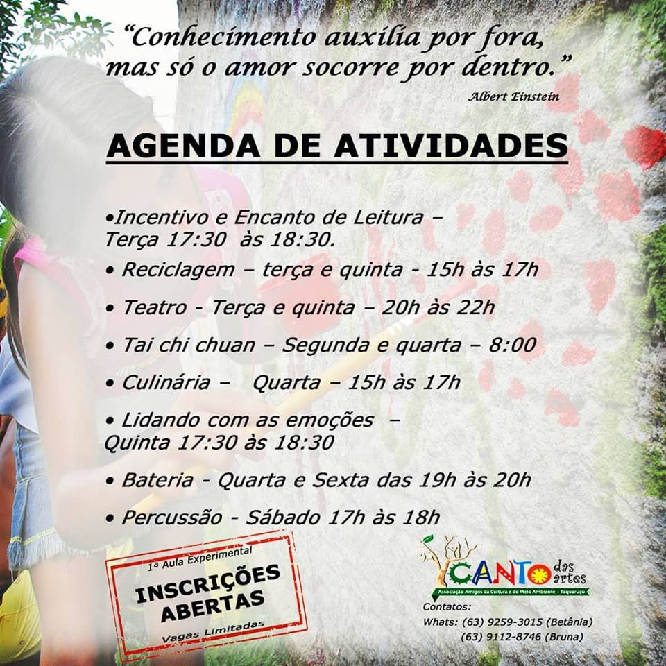 Agenda de Atividades do Canto das Artes 2019